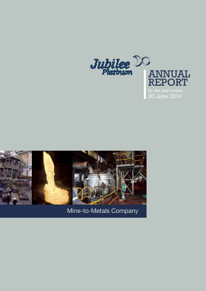 Jubilee Metals Group PLC (previously Jubilee Platinum) annual report 2014