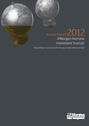 JPMorgan Global Growth & Income plc (formally JP Morgan Overseas Investment Trust Plc) annual report 2012