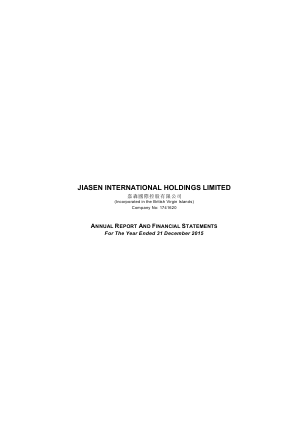 Jiasen International Holdings annual report 2015