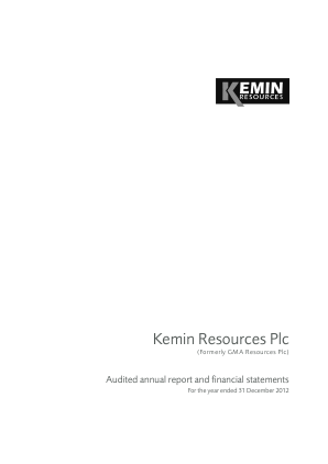 Kemin Resources Plc annual report 2012
