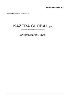 Kazera Global (previously Kennedy Ventures) annual report 2018