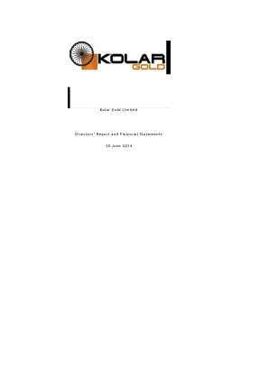 Lionsgold (previously Kolar Gold) annual report 2014