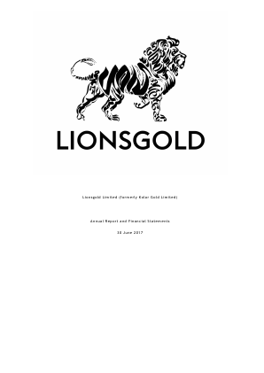 Lionsgold (previously Kolar Gold) annual report 2017