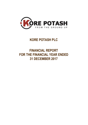 Kore Potash annual report 2017
