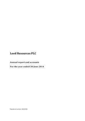 Leed Resources Plc annual report 2014