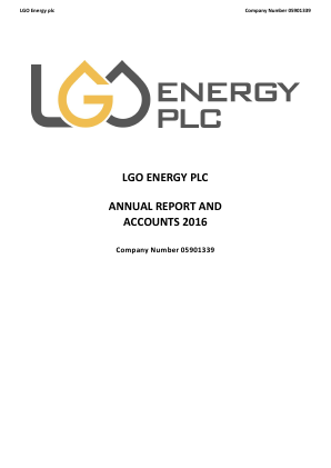 Columbus Energy Resources(previously LGO Energy) annual report 2016
