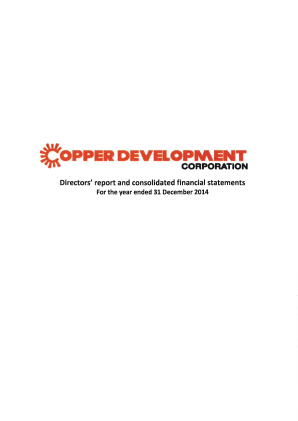 Life Science Developments (formally Copper Development Corp) annual report 2014