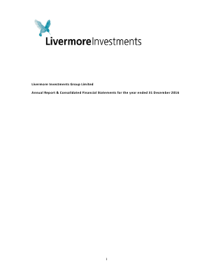 Livermore Investments Group annual report 2016