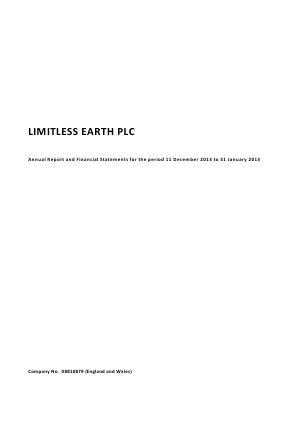 Limitless Earth Plc annual report 2014