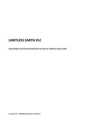 Limitless Earth Plc annual report 2015
