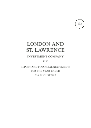 London & St Lawrence Investment annual report 2013