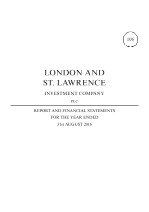 London & St Lawrence Investment annual report 2016