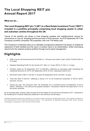 Local Shopping Reit Plc(The) annual report 2017