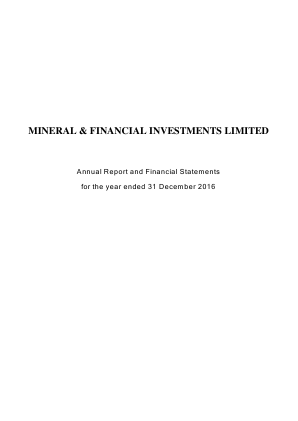 Mineral & Financial Investments annual report 2016