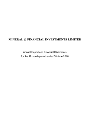 Mineral & Financial Investments annual report 2018