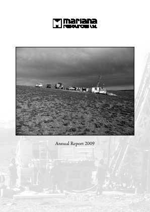 Mariana Resources annual report 2009