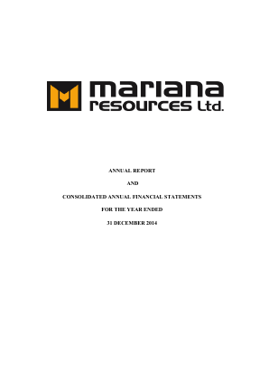 Mariana Resources annual report 2014