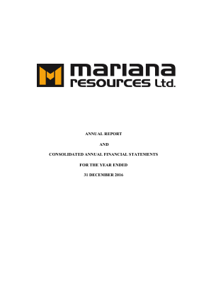 Mariana Resources annual report 2016