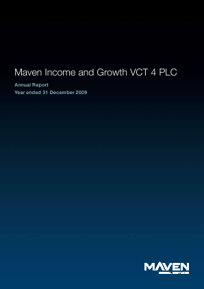 Maven Income & Growth VCT 4 Plc annual report 2009