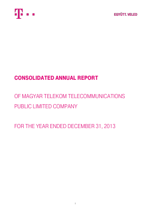 Magyar Telekom Telecommunications annual report 2013