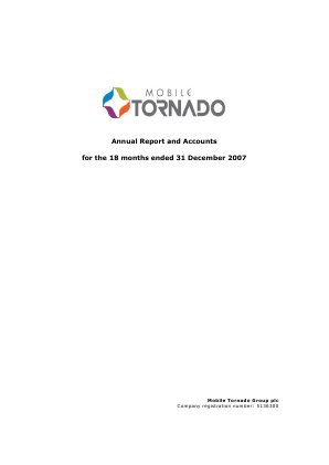 Mobile Tornado Group annual report 2007