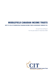 Middlefield Canadian Income PCC annual report 2009