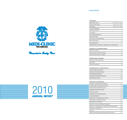 Mediclinic International annual report 2010