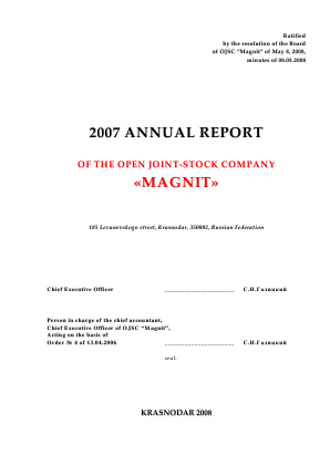 Magnit PJSC annual report 2007