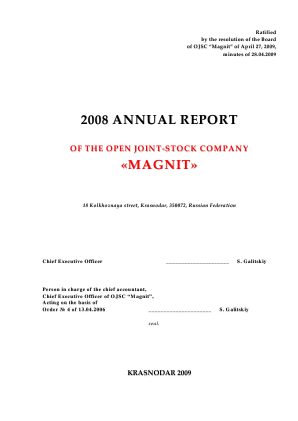 Magnit PJSC annual report 2008