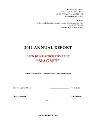 Magnit PJSC annual report 2011