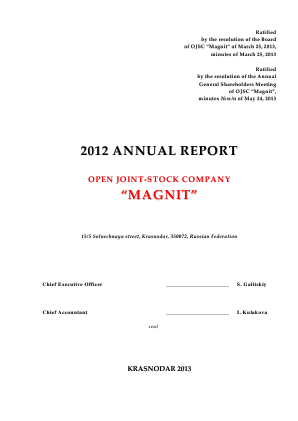Magnit PJSC annual report 2012