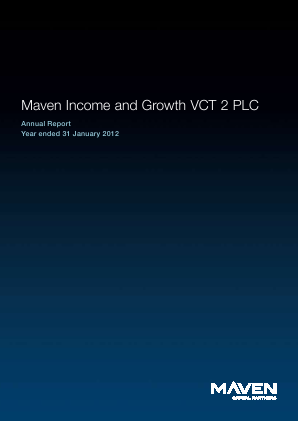 Maven Income & Growth VCT 2 Plc annual report 2012