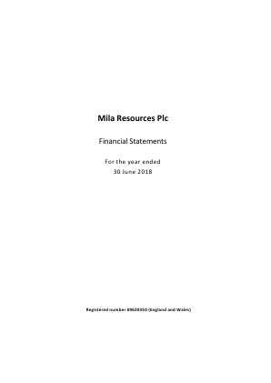 Mila Resources annual report 2018