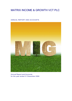 Mobeus Income & Growth VCT Plc annual report 2006