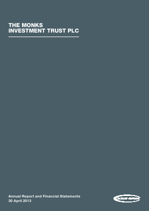 Monks Investment Trust annual report 2013
