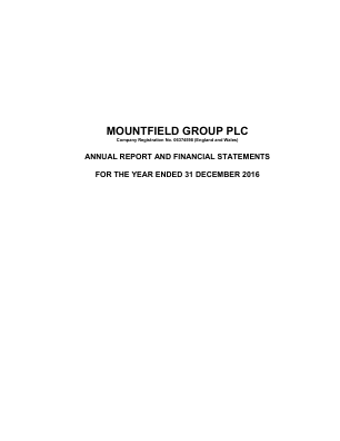 Mountfield Group Plc annual report 2016