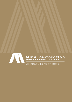 Mine Restoration Investments annual report 2016
