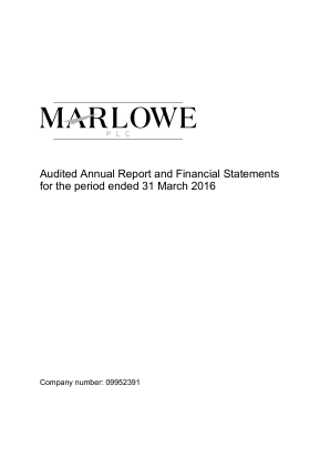 Marlowe Holdings annual report 2016