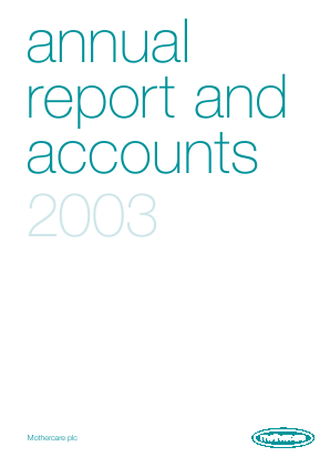 Mothercare annual report 2003
