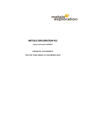 Metals Exploration Plc annual report 2018