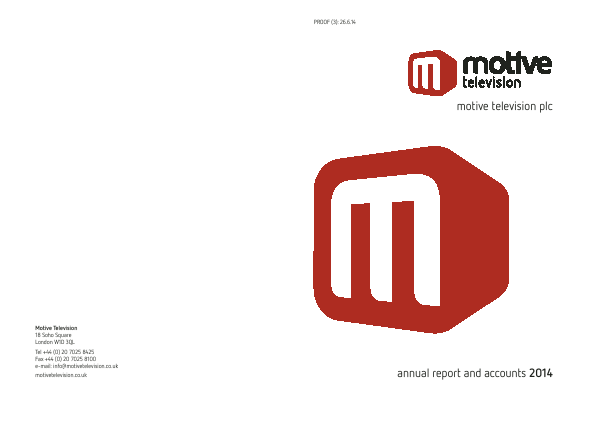 Motive Television annual report 2014