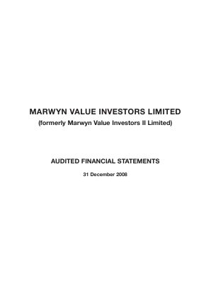 Marwyn Value Investors annual report 2008