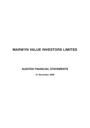 Marwyn Value Investors annual report 2009