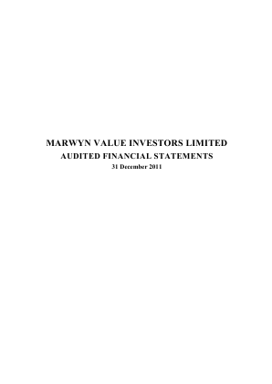 Marwyn Value Investors annual report 2011
