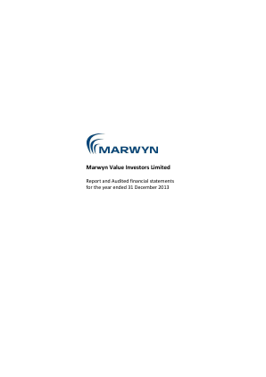 Marwyn Value Investors annual report 2013