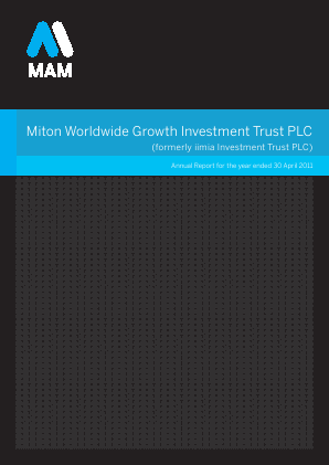 Milton Global Opportunities plc (previously Miton Worldwide Growth Investment Trust Plc) annual report 2011