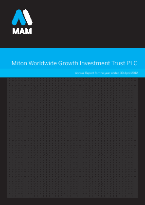 Milton Global Opportunities plc (previously Miton Worldwide Growth Investment Trust Plc) annual report 2012