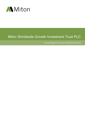 Milton Global Opportunities plc (previously Miton Worldwide Growth Investment Trust Plc) annual report 2013
