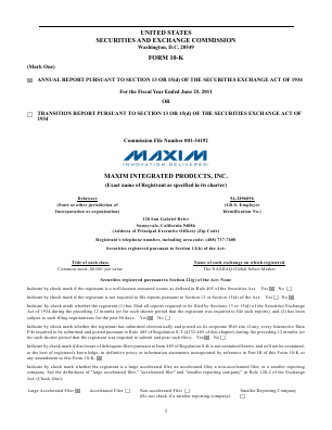 Maxim Integrated Products, Inc. annual report 2011