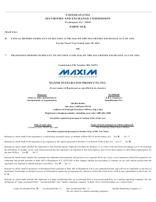 Maxim Integrated Products, Inc. annual report 2012